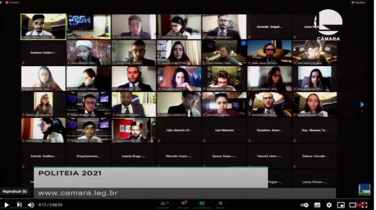 Alunos participaram das sessões por meio do canal da Câmara no YouTube - (Foto: Reprodução / Canal da Câmara no YouTube )