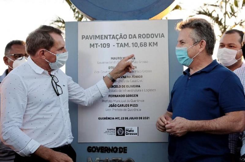 Governador entrega asfalto novo do Rodoanel e lança licitação para pavimentar 41,2 km da MT-110 em Querência - Foto por: Mayke Toscano