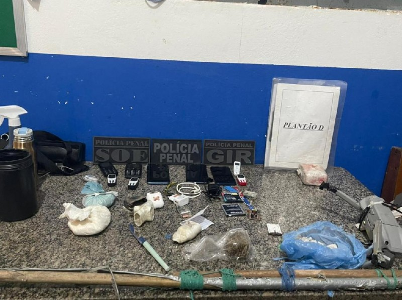 Materiais apreendidos na Penitenciária Feminina de Cuiabá - Foto por: Sistema Penitenciário