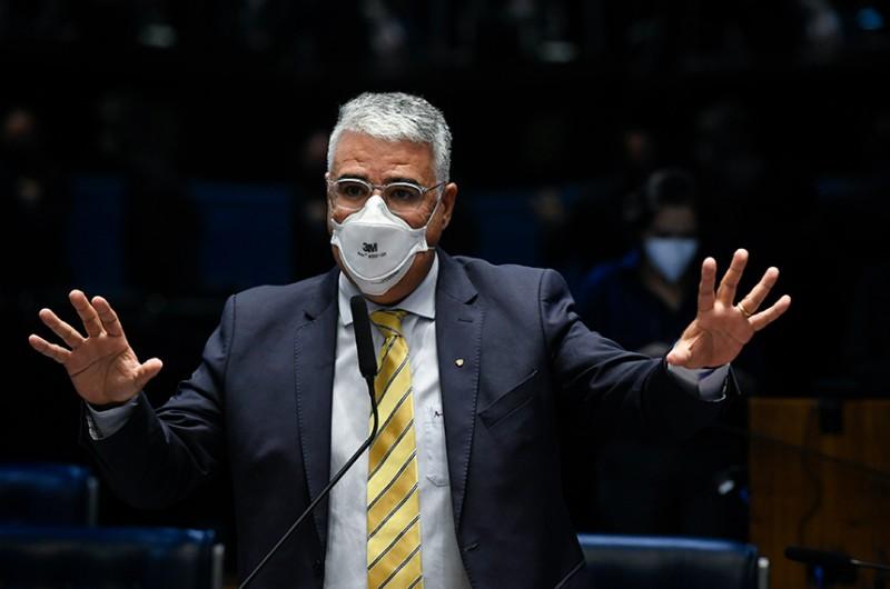 Senador Eduardo Girão (Podemos-CE) criticou decisões e medidas arbitrárias da CPI da Pandemia, do STF e do TSE, que considerou um processo abusivo de intimidação e censura prévia - Jefferson Rudy/Agência Senado