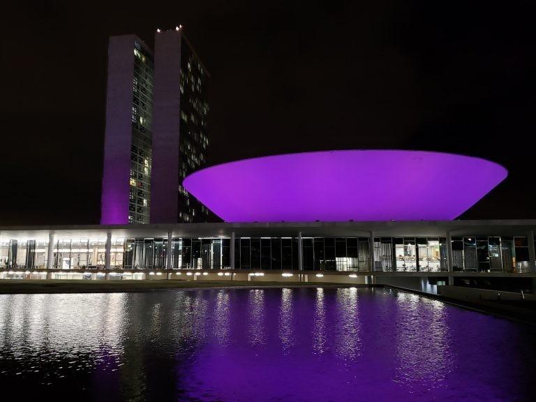 Cúpula da Câmara dos Deputados iluminada de roxo - (Foto: Pierre Triboli/Câmara dos Deputados)