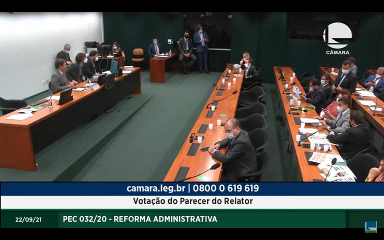 Comissão da Reforma Administrativa em reunião na noite desta quarta-feira - (Foto: Reprodução/TV Câmara)