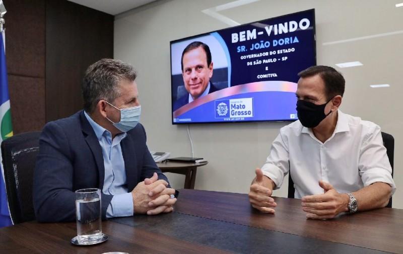 Governador Mauro Mendes recebe visita institucional do governador de São Paulo, João Dória - Foto por: Mayke Toscano